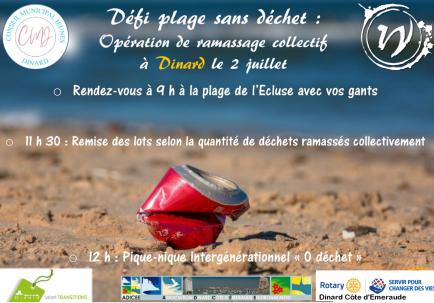 Action nettoyage plage à Dinard, en partenariat avec la ville et ADICE (Association Dinard Côte d'Emeraude Environnement)
