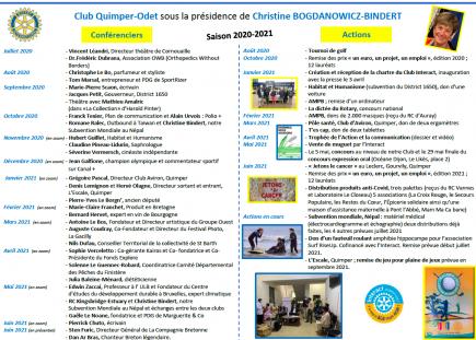 Actions et conférences sur l'année 2020/2021 sous la présidence de Christine Bogdanowicz-Bindert